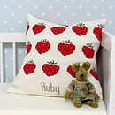 Personalised Knitted Strawberry Cushion