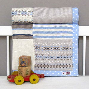 Fairisle Knitted Baby Blanket Blue