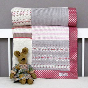 Fairisle Knitted Patchwork Blanket Pink - bedding & accessories