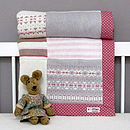 Fairisle Knitted Patchwork Blanket Pink