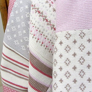 Pink Fairisle Knitted Baby Blanket