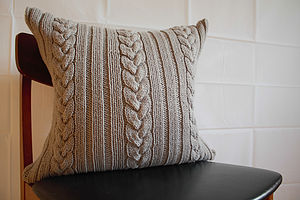 Knotted Cable Cushion Hand Knit In Grey