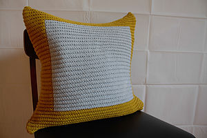 Colourblock Cushion Hand Knit In Mustard Grey - cushions