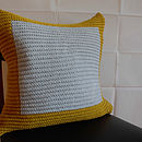 Colourblock Cushion Hand Knit In Mustard Grey