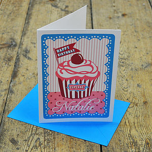 'Happy Birthday Cupcake' Personalised Card