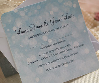 'Aqua Dream' Bokeh Wedding Invitations