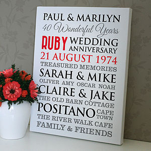 Personalised Ruby Wedding Anniversary Art - prints & art