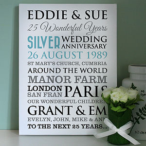 Personalised Silver Wedding Anniversary Art - 100 best wedding prints