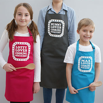 Personalised 'Love Cooking With Mummy' Aprons