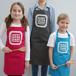 Personalised Love Cooking With Mummy Apron Set - aprons
