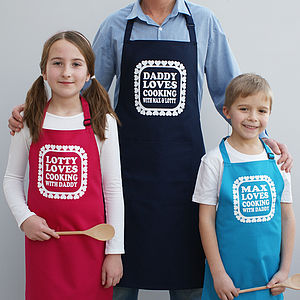 Personalised 'Love Cooking With Daddy' Apron Set - children's cooking
