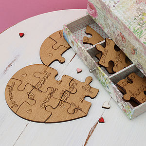 Personalised Heart Jigsaw Keepsake - love tokens