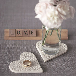 Porcelain Lace Heart Coasters - placemats & coasters