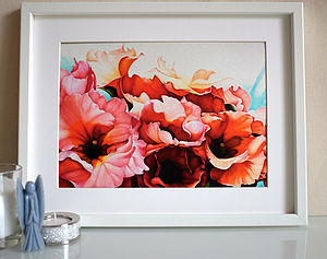 Fine Art Print Of Red And Orange Flowers