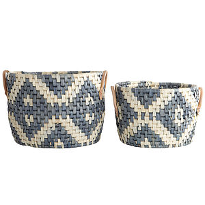 Graphic Baskets Set - vibrant blues