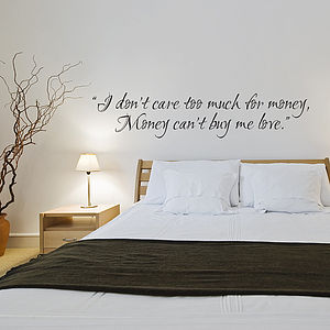 Money Can't Buy Me Love   Wall Sticker - wall stickers