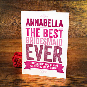 Personalised Bridesmaid Thank You Card - wedding cards & wrap
