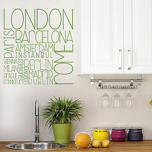 European Cities Wall Sticker - kitchen