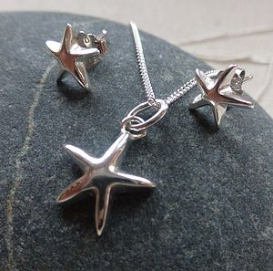 Silver Star Pendant And Stud Earring Set - jewellery sets
