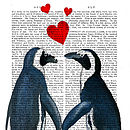 Penguins In Love Valentine's Dictionary Print