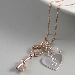 Rose Gold Personalised Key And Heart Necklace - rose gold jewellery