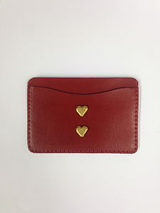 Two Hearts Beat As One Leather Cardholder