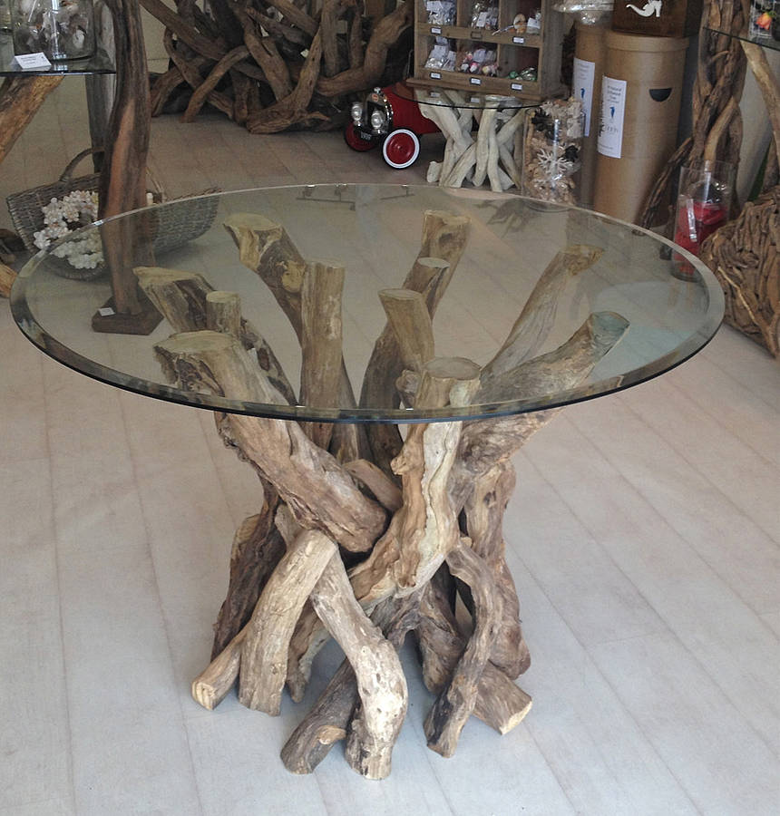 Round Glass Dining Table With Driftwood Base