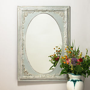 Dutch Oval French Hand Painted Ornate Mirror