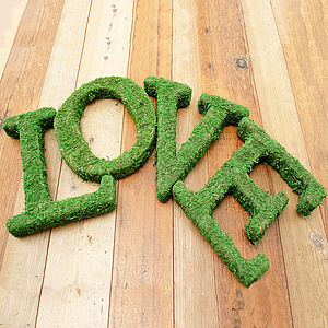 Real Moss Decorative Valentine Love Sign - occasional supplies