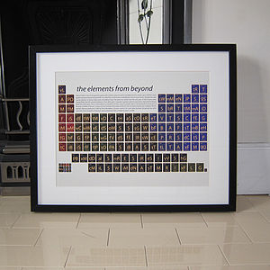 Sci Fi Films Periodic Table Art Print - gifts for geeks