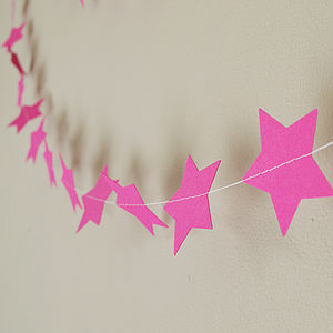 Cerise Stars Paper Garland - outdoor decorations