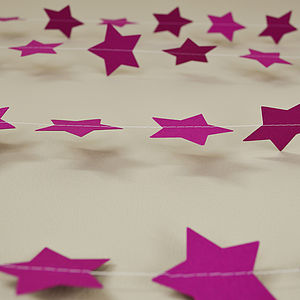 Warm Lilac Stars Paper Garland - outdoor decorations