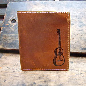 Guitar Print Leather Wallet