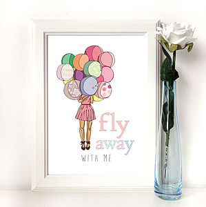 'Fly Away With Me' Illustration Print