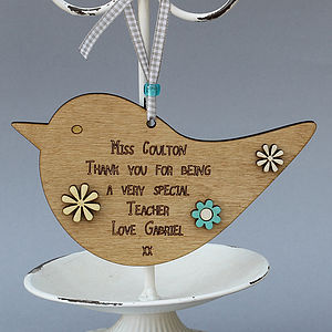 Teacher's Gift Wooden Bird Hanger - hanging decorations