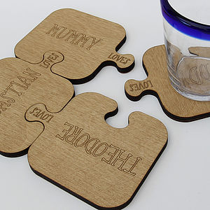 Four Personalised Wooden Jigsaw Coasters - tableware