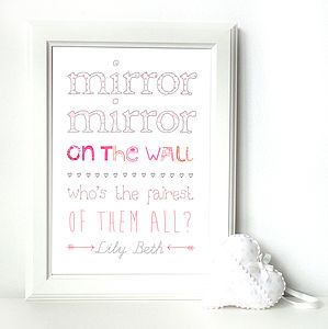 Personalised 'Mirror Mirror' Children's Print - paintings & canvases