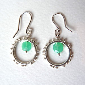 Granulation Hook Gemstone Earrings - earrings