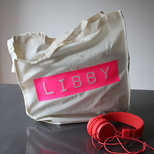 Custom Dymo Tape Tote Bag Neon Print