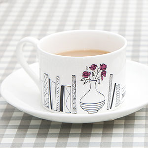 Books And Flowers Teacup - tableware