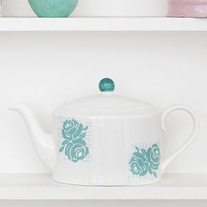 Grid Rose Teapot - tableware