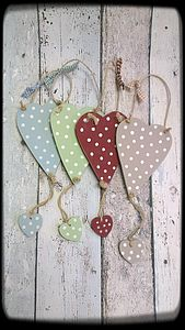 Handmade Wooden Personalised Dotty Heart Dangly