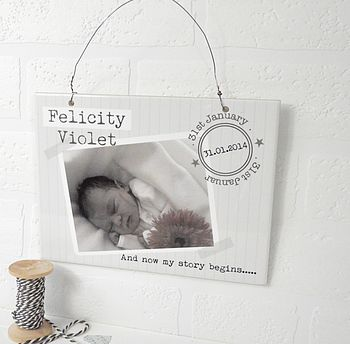 Personalised New Baby Ceramic Sign
