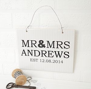 Personalised Mr And Mrs Ceramic Sign - room decorations
