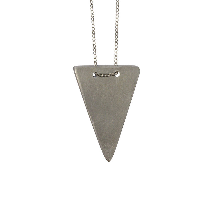 Solid Triangle Necklace Silver