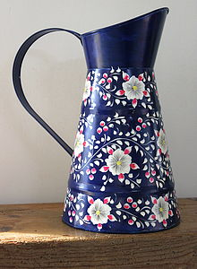 Hand Painted Blue Floral Jug