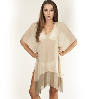 Beige Border V Neck Cover Up