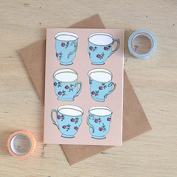 Vintage Tea Cups Greetings Card