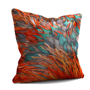 Orange Feathers Cushion - cushions