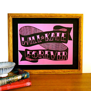 Bespoke Vintage Tattoo Name And Date Papercut - mixed media & collage